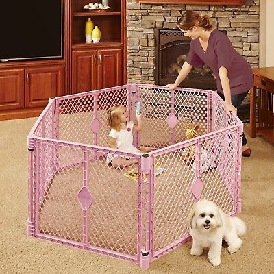 North States Superyard Classic 6 Panel Play Yard, Portable Indoor Outdoor  PINK