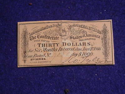 1864 Confederate $30 Coupon from a $1000 bond Civil War Era