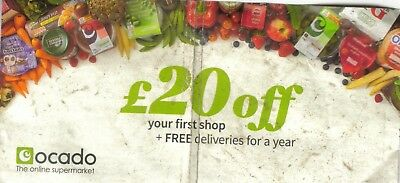 Ocado £20 OFF Food shopping Home Cooking Food Gift Voucher Code Exp 17/06/18