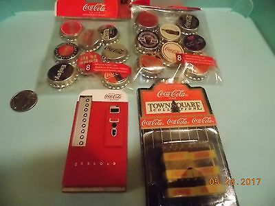 Lot of Assorted Coke Items, Adhesives, Magnet and Mini Coke Cases
