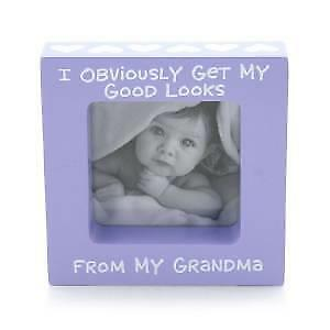 Baby Girl Frames : Purple GOOD LOOKS FROM GRANDMA Girl Baby Picture Frame NIB