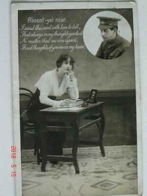 Old Used Postcard Series No. 489/5 Absent Yet Near
