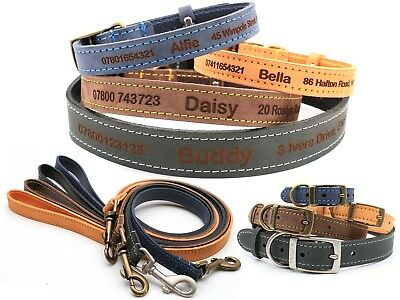 Ancol Timberwolf Personalised Finest Leather Dog Puppy Collar Tag Matching Lead
