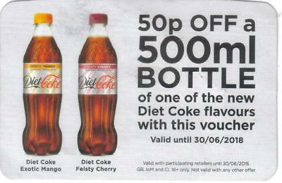 30 x 50p off 500ml bottle of Diet Coke new flavours only - Valid until 30/06/18