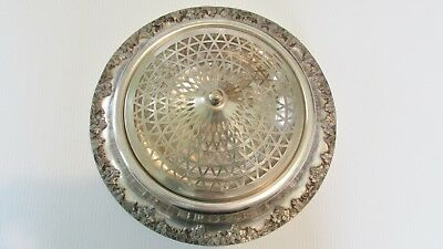Silverplate Centerpiece w/ Silver Plate Mesh Flower Frog Holder National Silver