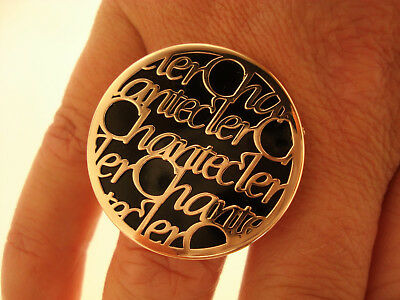 TOP Ring Chantecler 375 Gold Email Bague Anello Oro 9K ca. 15,5 g