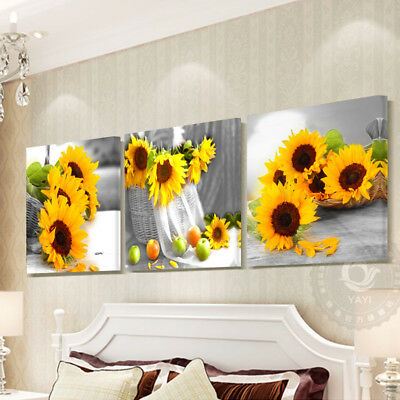 Sunflowers 3 Piece Wall Art Canvas Painting Pictures for Living Room Home
