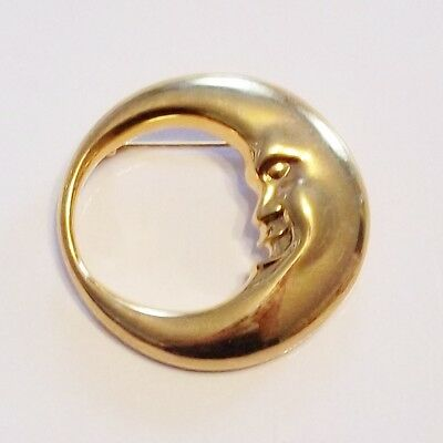 Glossy Goldtone Man in the Moon Circle Brooch Pin