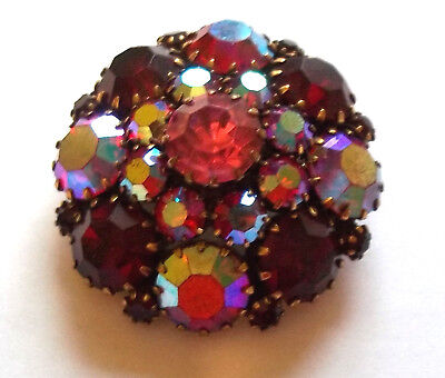 Vintage Goldtone Domed Brooch Pin Red Aurora Borealis Prong Set Rhinestones