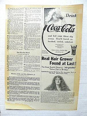 """1914,aug.9 Sunday Mag. """"and Feel Your Thirst"""" Arrow - Woman With Bonnet To Glass"""
