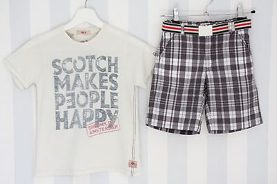 Il Gufo & Scotch Shrunk 2-tlg.Outfit 8/128 T-Shirt + Shorts Grau-Weiß Kombi