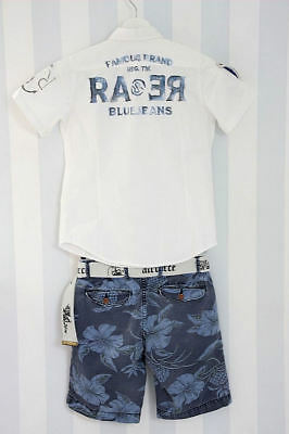 Rare the Kid & Scotch Shrunk 2-tlg.Kombi  8/128 Hemd + Shorts Weiß-Blau raer