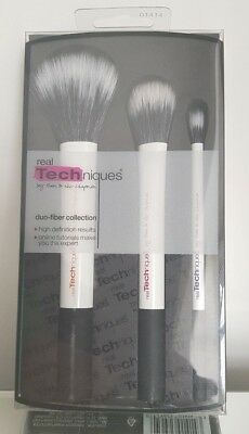 Real Techniques 3pc White Duo-Fiber Collection Makeup Brush Set New