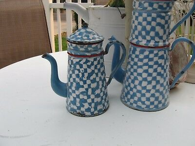 RARE French Antique French Enamelware Droopy Check Coffee Biggin