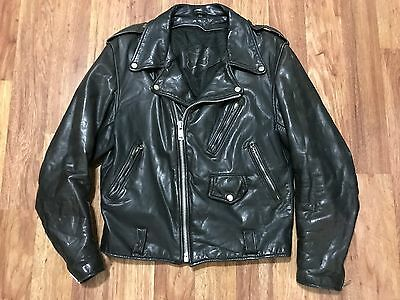 MENS 40 - Vtg 80s The Leather Warehouse Motorcycle Distressed Leather Jacket