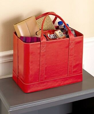 Chic File Organizer Tote Red Folder Carrier Leather Bag Portable Document NEW