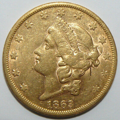1863-S Liberty Head $20 Gold Double Eagle