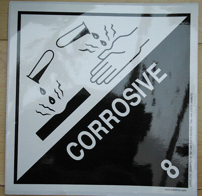 Corrosive 8 - Labels 250 x 250mm Vinyl Self Adhesive Back - New