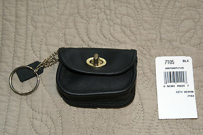 Coach Vintage Black Leather Turnlock Coin Purse w/ Key Ring 7105 Mini City Bag