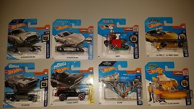 Hot Wheels - 9 Film Autos / Movie Cars - James Bond, Fast and Furious & mehr