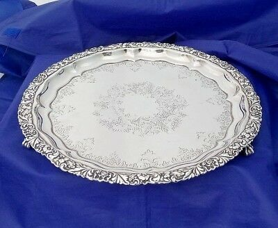 Antique Silver Plate Salver / Serving Tray 3 Ball & Claw Feet J Sherwood & Sons