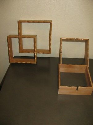 Vintage Lot of 2 Mid Century Wood Shadowbox Interlocking Double Square Shelves