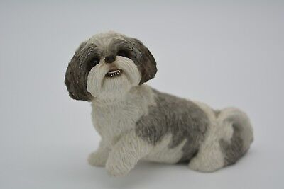 Sandicast Figurine Sculpture Shih Tzu Silver and White Giving Paw MS16405