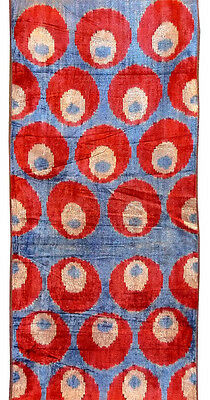 "UZBEK PURE SILK IKAT HANDCRAFTED ABR VELVET FABRIC ""BAKHMAL"" A6282 By The Meter"