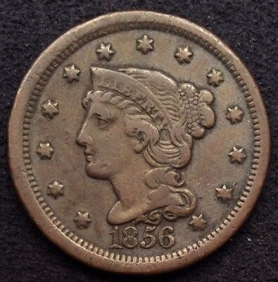 1856 Braided Hair Coronet Copper Large Cent VF
