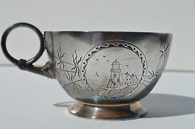 American Silver Plated Left Handed Shaving Mug Depicting Lighthouse Pairpoint