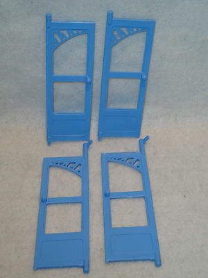 Fisher Price 6364 Loving Family Dream House Replacement Blue FRENCH DOORS Set x4