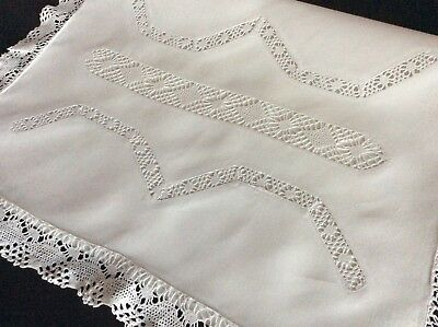 Beautiful Antique Large Nightdress Case ~ Lace Trim And Inserts
