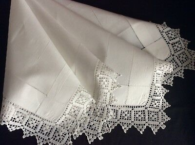 Beautiful Antique White Irish Linen Tablecloth With Lovely Lace Trim.