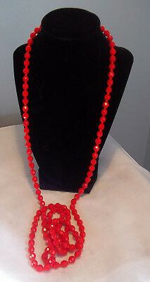 Vintage Single Strand Bright Orange Faceted Glass Bead Rope Necklace 54 in.