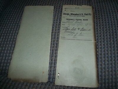 1915 Chicago Milwaukee & St. Paul Pacific Railroad RR Enginemens Personal Record