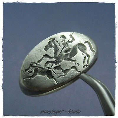 ** HORSEMAN HUNTING BOAR **9,91g ancient SILVER  Roman ring !!! LEGIONARY !!!