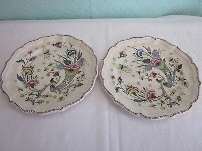 Two Vintage, 1941-50, Stoneware Faience Plates By Gien, From Rouen, France.