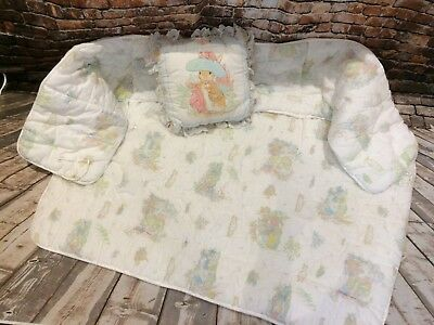 vintage 1980s?1990s? peter rabbit pillow,wind in the willows cot bedding duvet