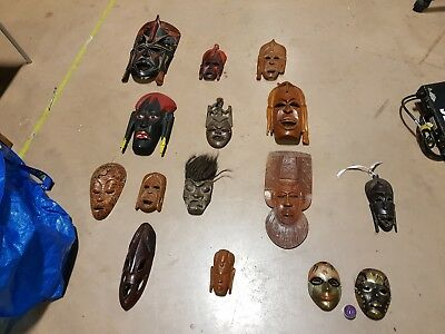 african/asian mask collection wooden and metal