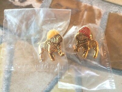 2 NEW IN PACKAGE Mack Truck Bulldog 1 Fireman Red 1 Yellow Hat Lapel Pin/Tie Tac