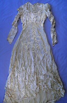Antique Satin Wedding Gown Long Train Elegant Buttons Back and Cuff Thick Fabric