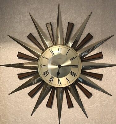 Lovely Condition Metamec Vintage Starburst Sunburst Wall Clock Fully Working
