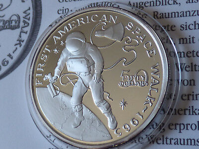 Marshall Islands 1989 First American Space Walk 1965 WHITE 50 $ Silber silver