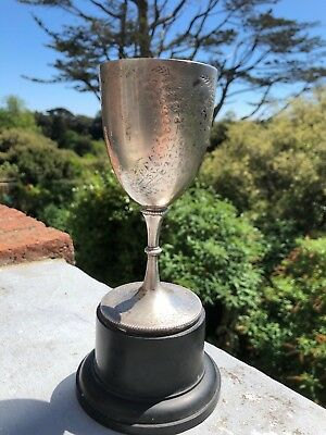Solid sterling English Antique silver wine goblet chalice cup London 1876
