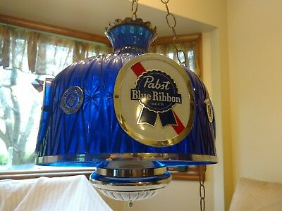 Vintage Large Pabst Blue Ribbon Swag Hanging Lamp Pbr Very Cool!!! Great Colors!