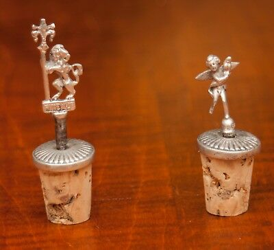 Rare  Cherub & Lion 800 Sterling Firenze  ( Florence)  Cork Bottle Stoppers Tops