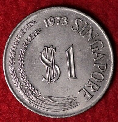 1973 Singapore $1 World Coin / Statue Of Lion Flanked By Stalks Of Paddy Z-A