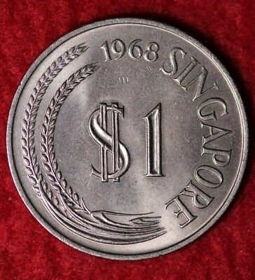 1968 Singapore $1 World Coin / Statue Of Lion Flanked By Stalks Of Paddy A-11