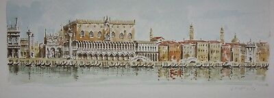 Vintage Italian Watercolour Venice Ducal Palace Gondolas Boats Signed Lucatello