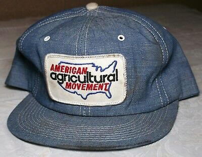 AMERICAN AGRICULTURAL MOVEMENT Snapback Hat Cap K BRAND Made in USA DENIM Patch